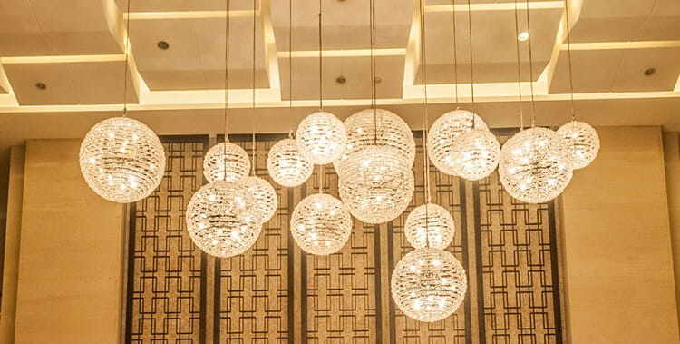 Custom pendant light for hotel lobby