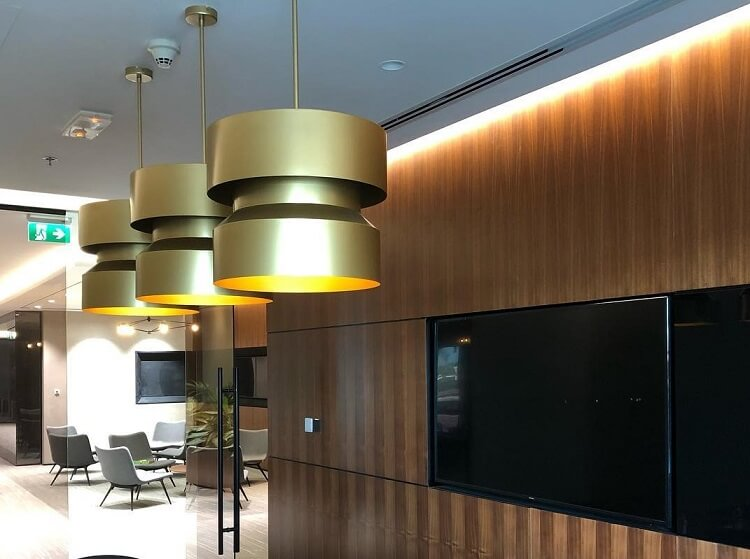 custom pendant light in satin brass finish