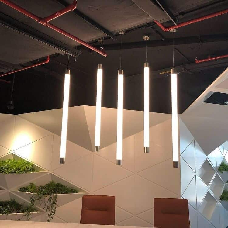 linear custom pendant light for reception