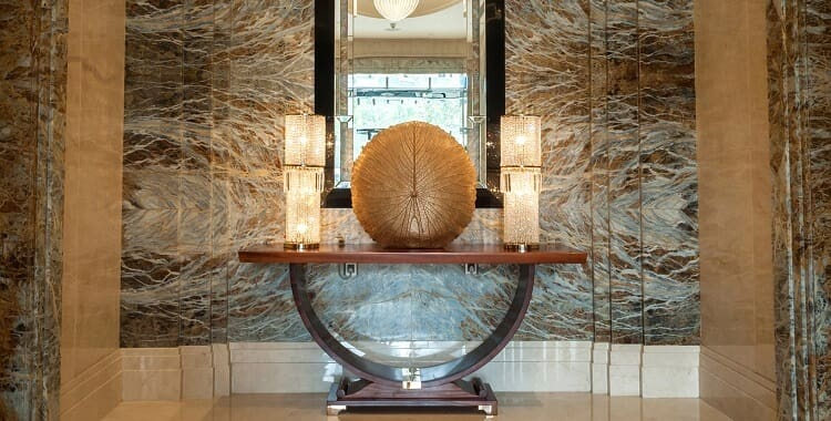 Crystal hotel table lamp in public area