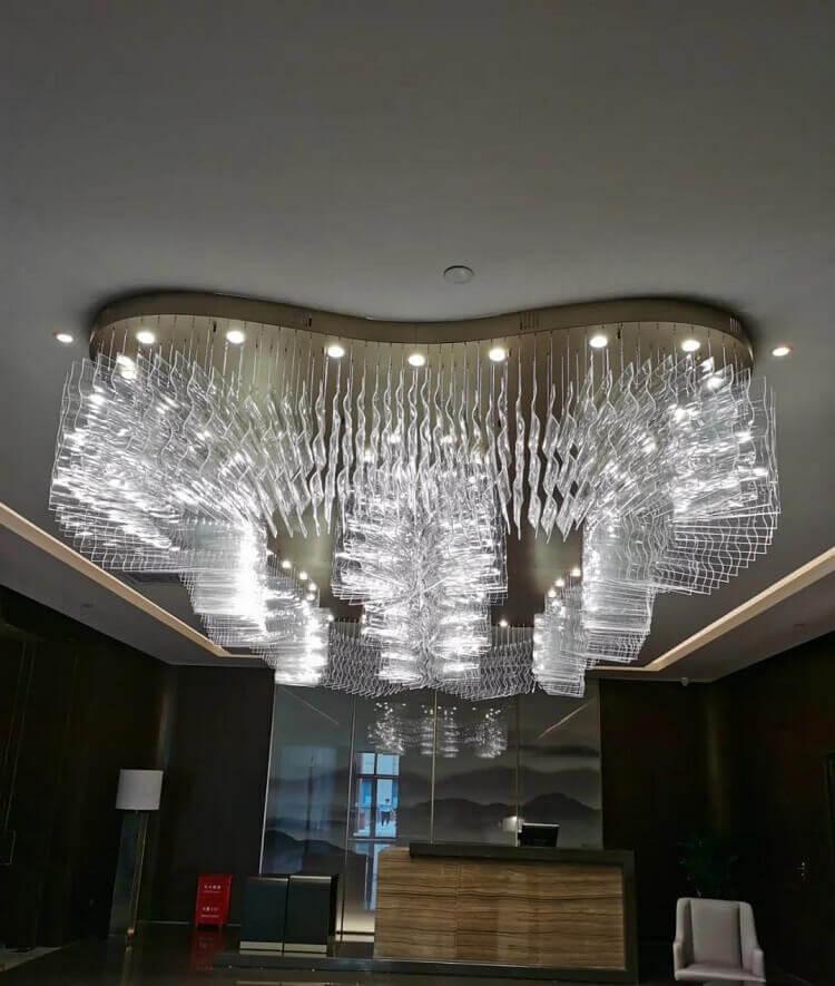 Custom chandelier in hotel restaurant reception hall