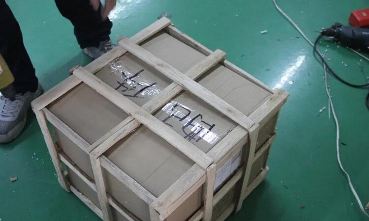 Custom glass chandelier in safe wooden package