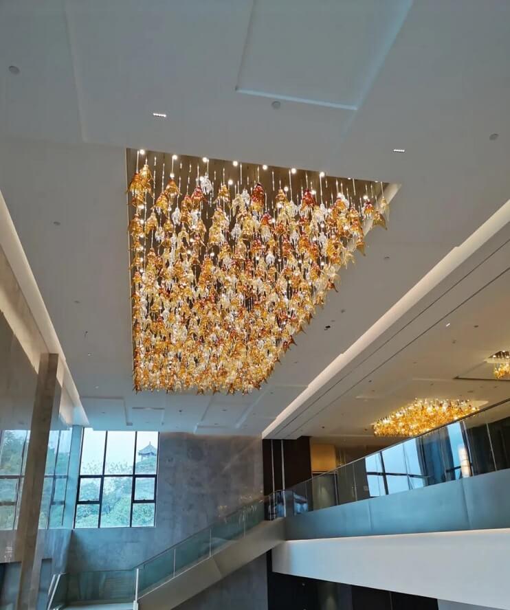Glass custom chandelier for hotel hallway, Wyndham Resort, Baise China