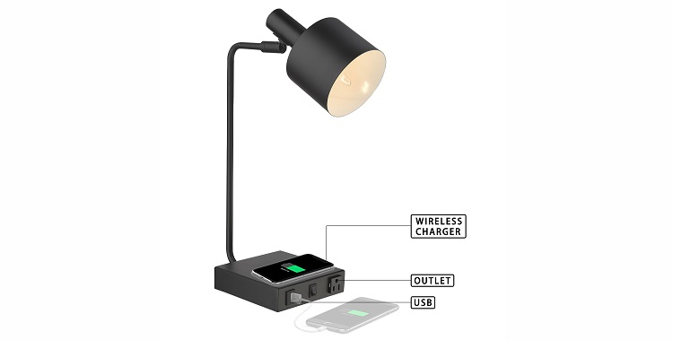 Hotel desk lamp with USB port, power outlet, and charging station