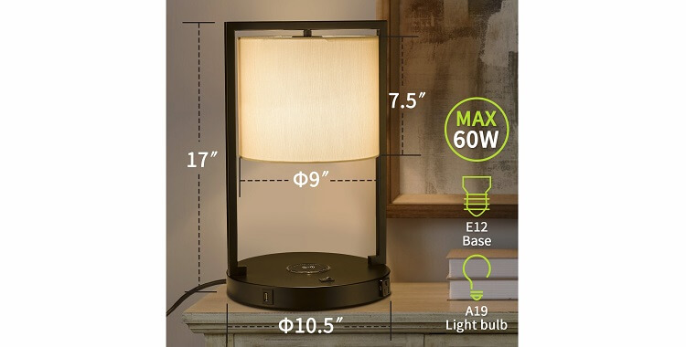 Tradtional hotel table lamp with USB port, power outlet, and charging station