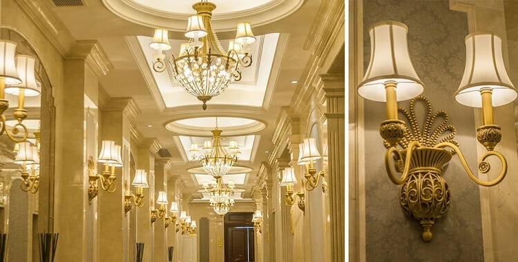 classic type custom wall light for hotel hallway