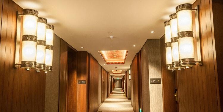 cluster of custom wall light for hotel corridor
