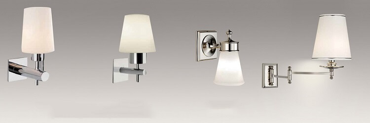 hotel wall sconces in chrome metal and white fabric shade