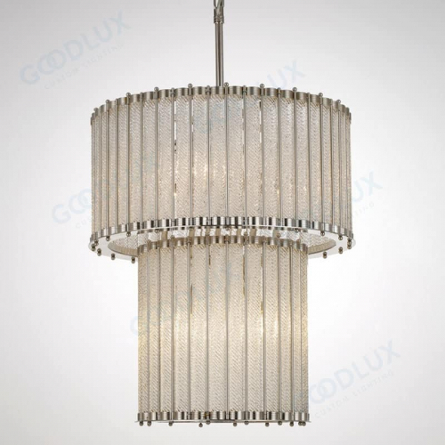 20inch Elegant chandelier with detailed textured glass on nickel frame GP3487-6NI