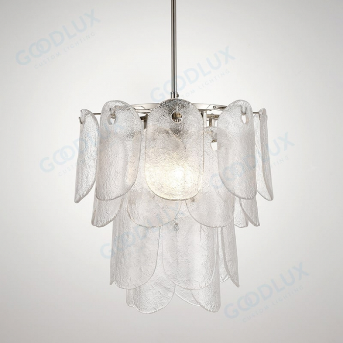 4-tiers glass chandelier with nickel and clear glass GP3600-3