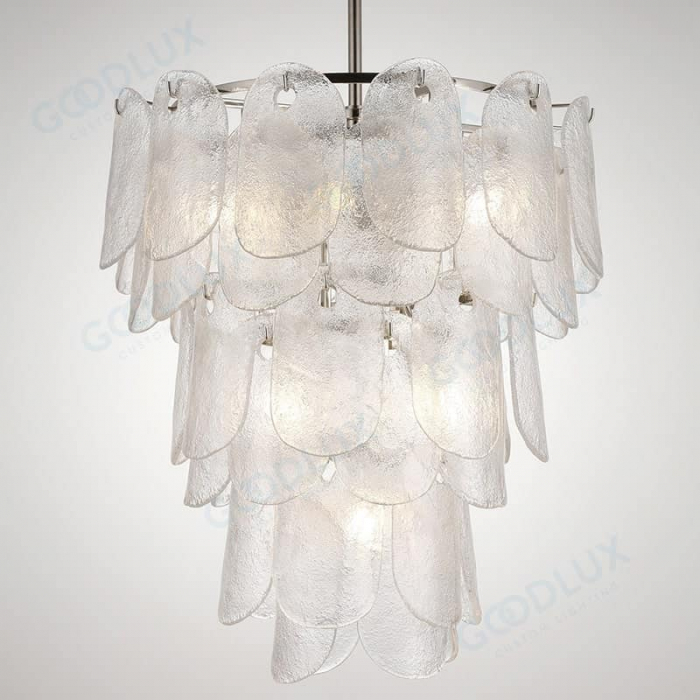 6-tiers glass chandelier with nickel and clear glass chandelier GP3600-8