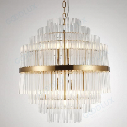 Clear crystal chandelier with brass accent GP3586-13