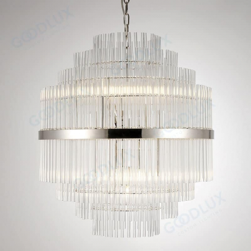 Clear crystal chandelier with bright nickel accent GP3586-13