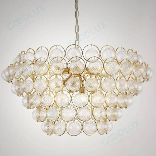 Elegant chandelier with small texture glass ball and brass finish GP3584-8