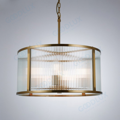 Glass chandelier combine modern and industrial style with brass finish GP3521-4