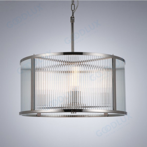 Glass chandelier combine modern and industrial style with classic nickel finish GP3521-4NI
