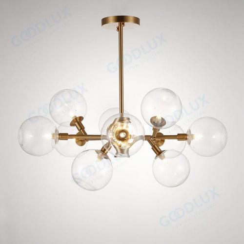 Modern brass chandelier with 10 glass shades GP3587-10