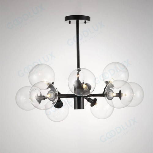 Modern chandelier clear glass pair with antique black GP3587-10ABG