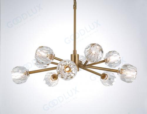 Modern glass chandelier with antique brass finish GP3488-10