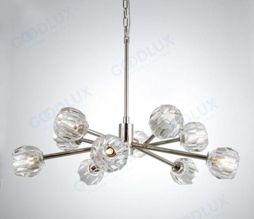 Modern glass chandelier with nickel finish GP3488-10NI