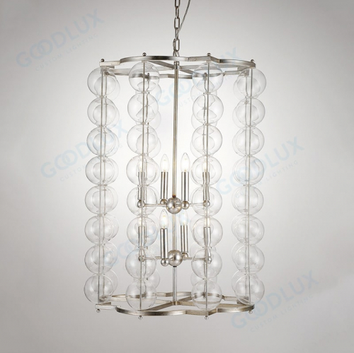 contemporary chandelier with glass bulb shade GP3590-8L