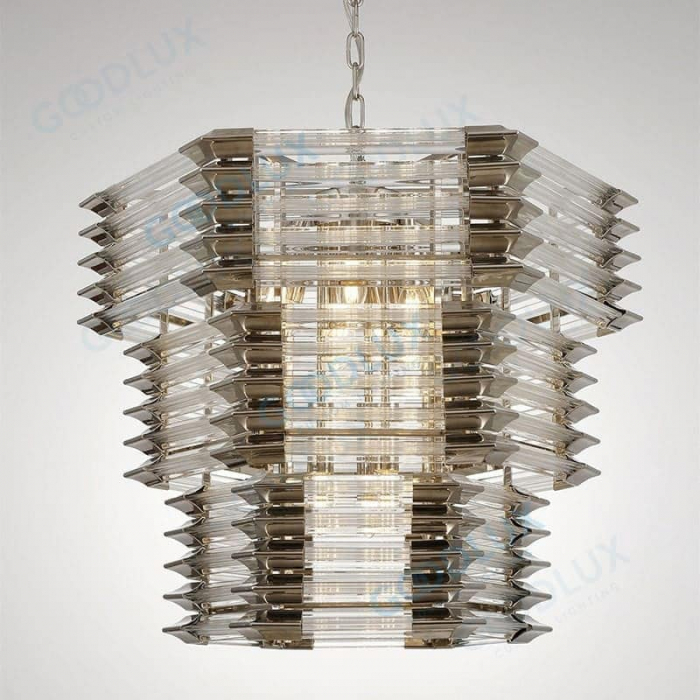industrial and modern combined chandelier with six-sided glass shades GP3588-12SM