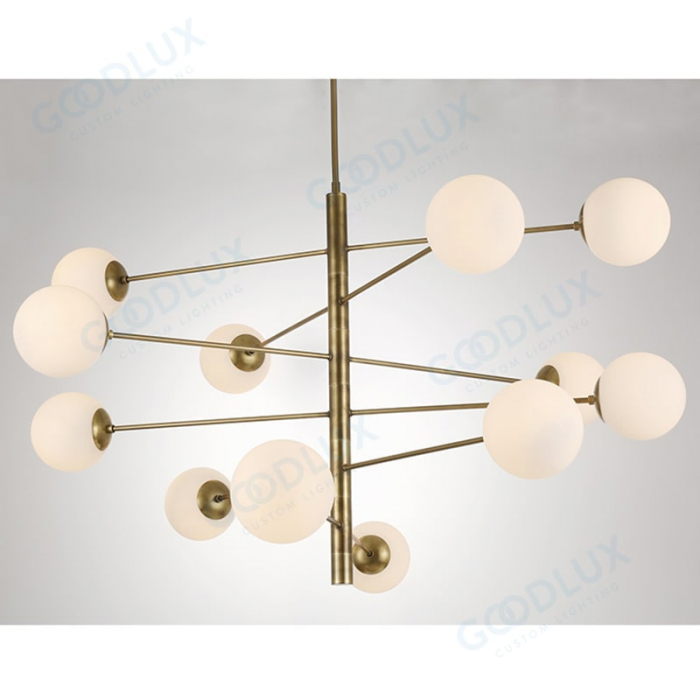 sphere glass brass chandelier GP3596-12