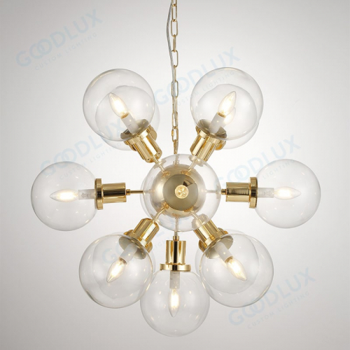 sphere glass chandelier with gold accent GP3597-13