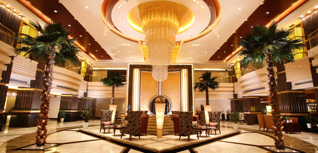 Large custom lighting as hotel lobby lighting