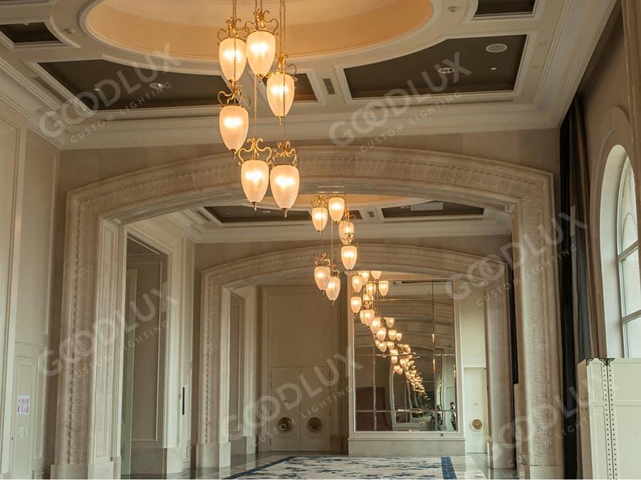 custom pendant light for corridor of Castle Hotel Dalian