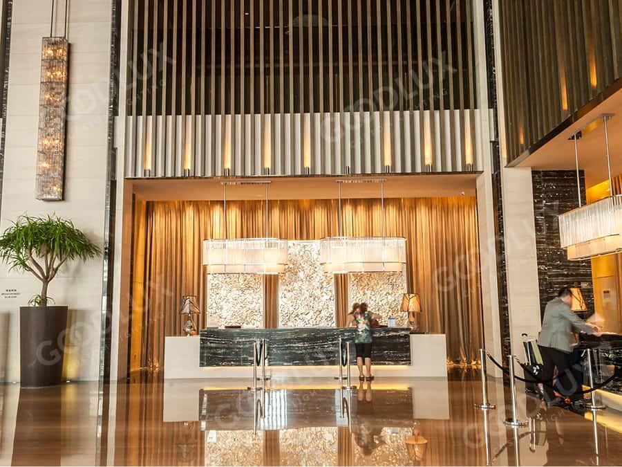 custom reception lighting for Hilton Hotel Dalian
