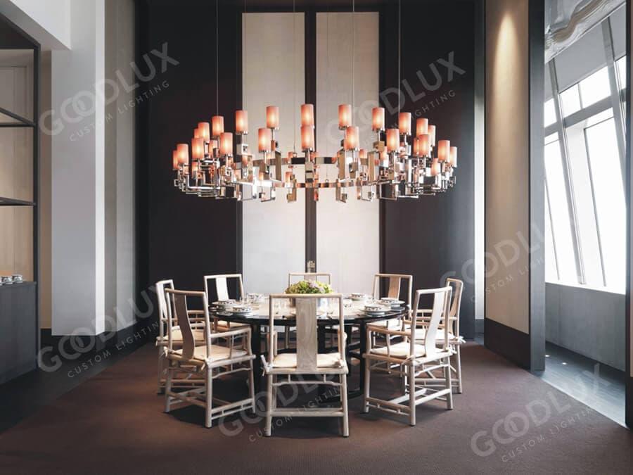 Custom pendant light for Shanghai Park Hyatt hotel restaurant